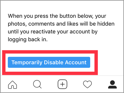 Instagram Profile Edit Temporarily Disable Account Enter Password Confirm
