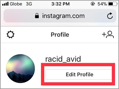 Instagram Profile Edit