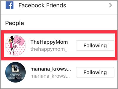 Instagram Profile Following Choose