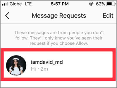 how to send message request on instagram
