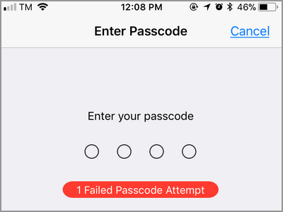 iPhone Failed Passcode Attempt