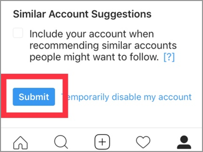 iPhone Home Safari Instagram Edit Profile Similar Account Suggestions Submit