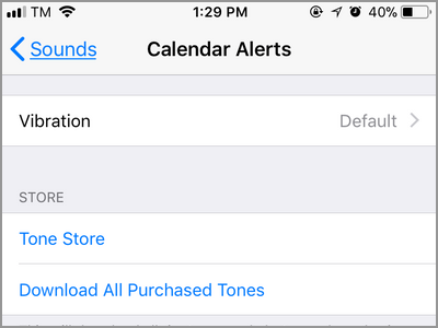 iPhone Settings Sounds Calender Alerts Menu