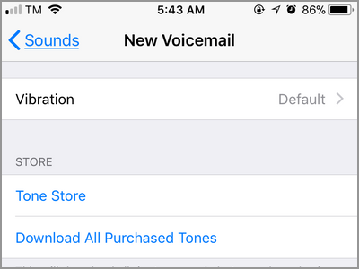 iPhone Settings Sounds New Voice Mail Notification Menu