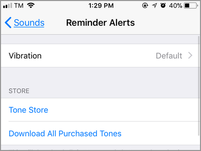 iPhone Settings Sounds Reminder Alerts Menu