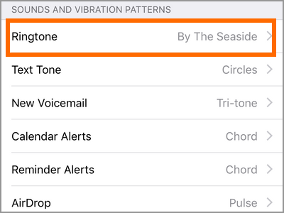 iPhone Settings Sounds Ringtone