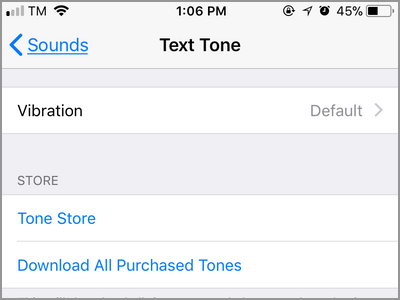 iPhone Settings Sounds Text Tone Menu