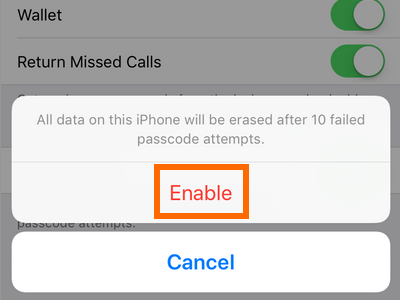 iPhone Settings Touch ID and Passcode Erase Data Enable