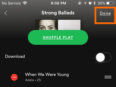 iPhone Spotify Your Library Playlists Done