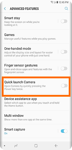Galaxy S9 Home Settings Advanced Features Quick Launch Camera OFF