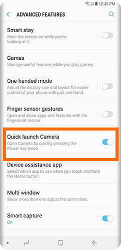 Galaxy S9 Home Settings Advanced Features Quick Launch Camera