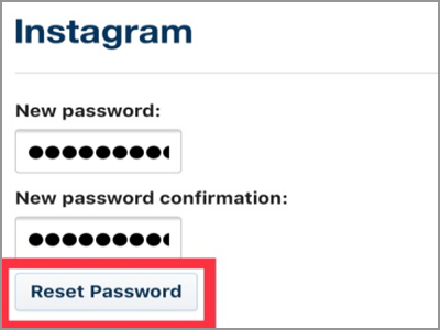 Instagram Enter New Password Reset Password