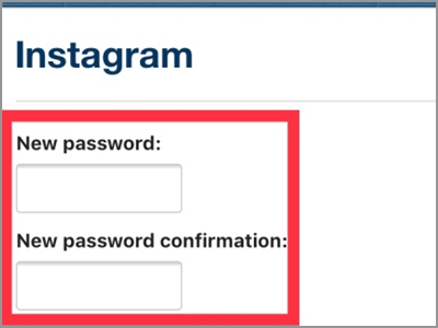 Instagram Enter New Password