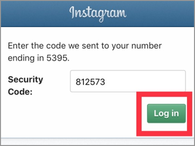 Instagram Enter Security Code from Phone Login