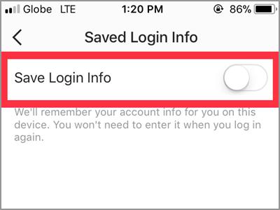Instagram Saved Login Info Switch