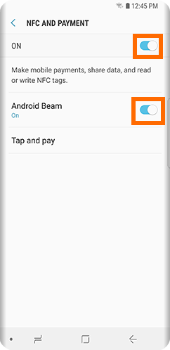 S9 Settings Connections NFC and Payment Android BEam ON