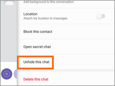 Viber Message Other Options Chat Info Unhide This Chat