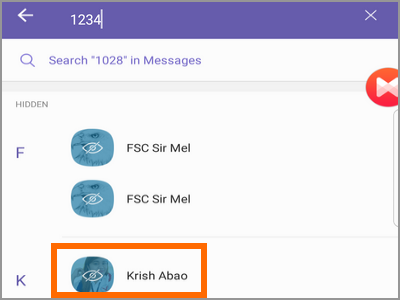 Viber Search 4-digit PIN Selet Contact