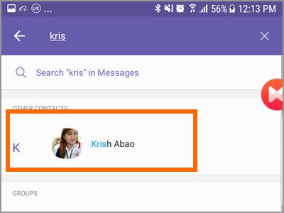 Viber Search Button Enter Contact