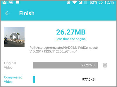 Android Video Converter Compression Done