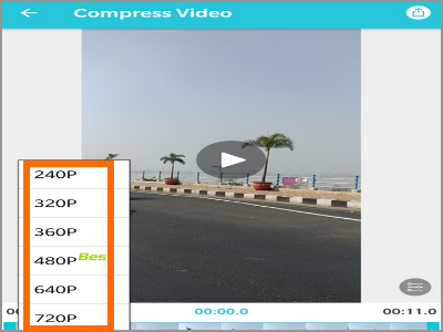Android Video Converter Select Compression Resolution