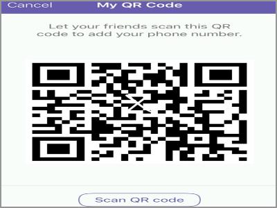 Viber Add Contacts QR Scanner my QR code
