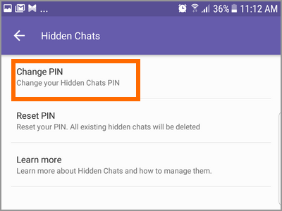 Viber More Settings Privacy Hidden Chats Change PIN