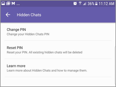 Viber More Settings Privacy Hidden Chats Interface