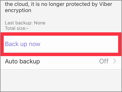 Viber Settings Account Backup Now