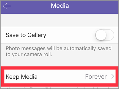 Viber Settings Media Keep MEdia