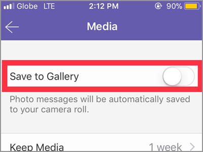 Viber Settings Media Save to Gallery