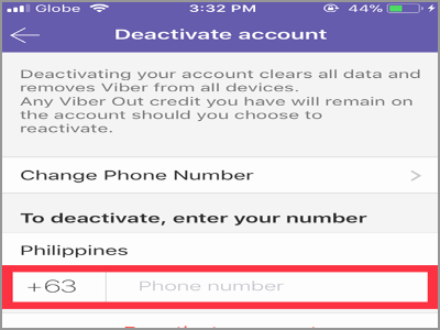 Viber more button Settings Device account Enter number