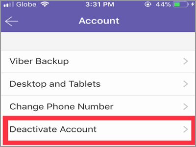 Viber more button Settings Device account
