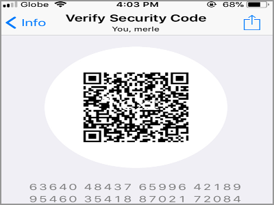 WhatsApp Chats Choose Chat More Contact info encryption QR Code