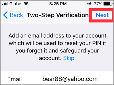 WhatsApp Settings Account Two Step Verification Enable 6 digit PIN Confirm NEXT button