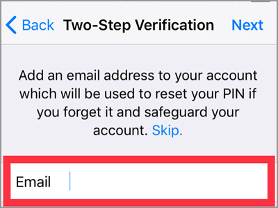 WhatsApp Settings Account Two Step Verification Enable 6 digit PIN Confirm NEXT