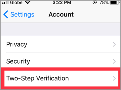 WhatsApp Settings Account Two Step Verification