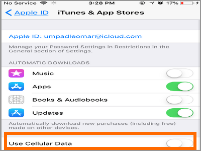 iPhone Settings Apple ID Itunes and App Store Use Cellular Data