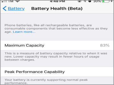 iPhone Settings Battery Health Page