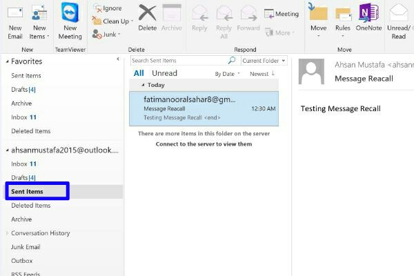 how to delete an email you sent on outlook