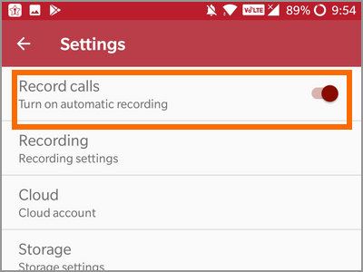 Android Auto Call Recorder Settings