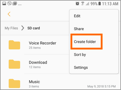 Android File Manager SD Card Storage More Settings Create Folder