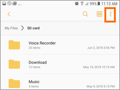 Android File Manager SD Card Storage More Settings