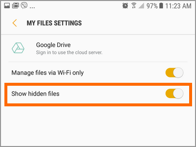 Android Hide Photos Show Hidden Files Switch