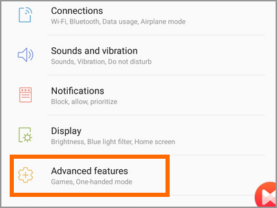 Android Settings Advanced Features Menu