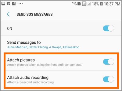Android Settings Advanced Features Send SOS Messages Options