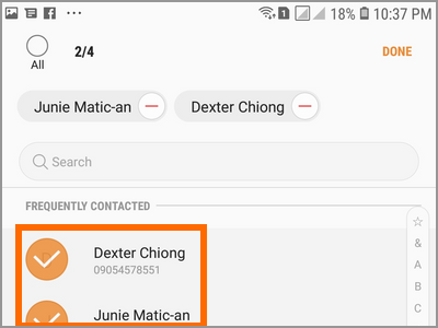 Android Settings Advanced Features Send SOS Messages Select Contacts