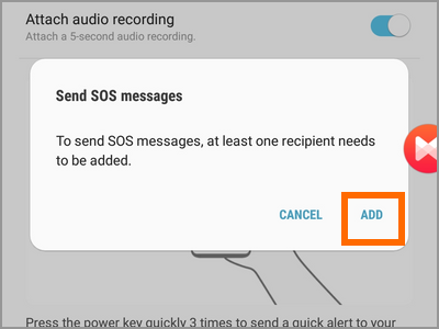 Android Settings Advanced Features Send SOS Messages Switch Terms Add