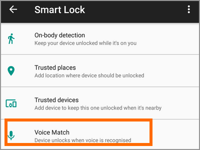 Android Settings Lock Screen And Security Smart Lock Voice Match Menu