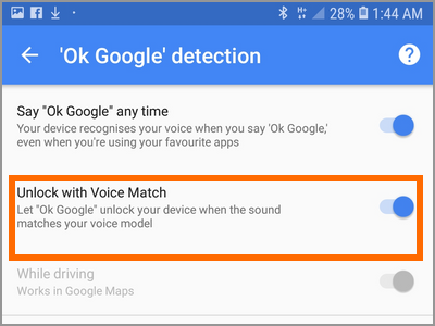 Android Settings Lock Screen And Security Smart Lock Voice Match OK Google At Any Time Unlock with Voice Match